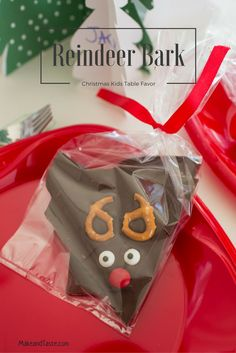 Simple and fun chocolate reindeer bark.  Your little kitchen helper will love to help you make these.