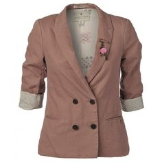 Maison Scotch Jacket, Rose Double Breasted Boyfriend Blazer ($180) ❤ liked on Polyvore featuring outerwear, jackets, blazers, coats, tops, lined jacket, lightweight jackets, vintage jacket, brown jacket and light weight jacket