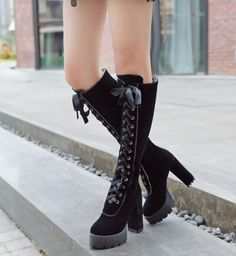 Women'S Retro Round Toe Lace Up Knee High Boots Knight Riding Chunky Heel Shoes
