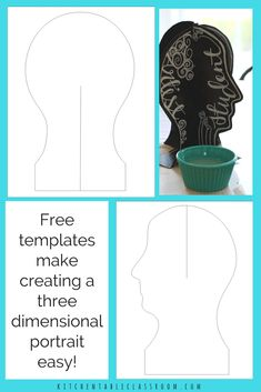 This 3D portrait lesson provides a free printable template to allow a quick and easy sculpture construction that's ready for any medium. Paint, print, letter, or collage to add personality and tell a story on your three dimensional portrait.