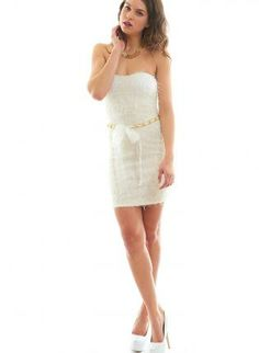 White Fluffy Strapless Dress #chain #belted #cute #minidress #partydress #fuzzy #ustrendy