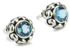 """Zina Sterling Silver """"Signature Swirl"""" Earrings With Round B"""