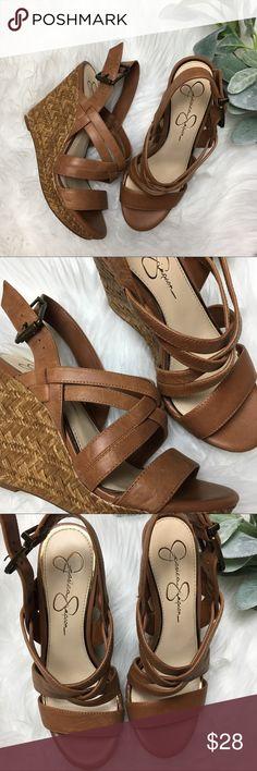 Jessica Simpson Woven Wedge Jessica Simpson Woven Wedge Size 7M Tan EUC Jessica Simpson Shoes Wedges