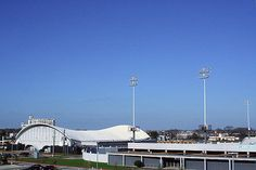 Current picture of Delmar Field House with stadium to the right of it. It is located at 2020 Mangum Road and opened in 1957 for HISD schools to use.
