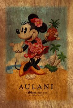 Aulani Disney Resort Minnie wood post card