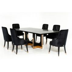 Black - A&X Casa Armani Xavira Furniture Latest Armani Bed, Cabinet, Buffets, Chair, Sofa, TV Stands and Tables White Dining Chairs, Fabric Dining Chairs, Modern Dining Table, Extendable Dining Table, Dining Chair Set, Dining Area, Dining Room, Oak Coffee Table, Table Seating