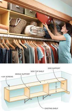 Two-Story Closet Shelves: #building #plans for taking advantage of extra vertical space #storage #organization
