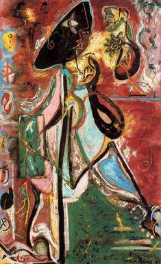 """Titulo de la obra: Mujer Luna.  Autor: Jackson Pollock. Técnica: Óleo sobre lienzo.  Dimensiones: 204 x 127,3 cm. Año: 1942. Localización: Venecia.  Jackson Pollock nació el 28 de enero de 1912 en Cody. Estudió en la Art Students League de Nueva York. Fue un pintor influyente de América. Se convirtió en uno de los artistas más significativos del """"Action Painting"""", siendo el mayor representante de esta tendencia dentro del expresionismo abstracto.  http://www.ecured.cu/Paul_Jackson_Pollock"""