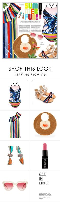 """One Piece Swimsuit : Colorful Summer"" by gorgeautiful ❤ liked on Polyvore featuring MARA, Sophie Anderson, Lizzie Fortunato, Smashbox, Komono, Lipsy, beach, colorful, summerstyle and swimsuit"