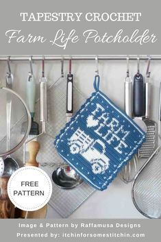 "This tapestry crochet farm life potholder is a free pattern by guest designer Raffamusa Designs. Featuring a truck and the words ""Farm Life"", it is one in a series of Farmhouse potholders and it is truly fabulous! #freecrochetpattern #tapestrycrochet #crochetpotholder #crochetkitchen #crochethomedecor #crochethome Potholder Patterns, Crochet Potholders, Crochet Patterns, Crochet Bear, Free Crochet, Crochet Birds, Crochet Food, Crochet Animals, Crochet Granny Square Afghan"