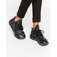 adidas Tubular Runner Sneakers ($82) ❤ liked on Polyvore featuring shoes, sneakers, black, adidas sneakers, laced shoes, lace up shoes, black sneakers and adidas