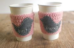 BEST FRIENDS Coffee cup cozy matching set by The by thecozyproject, $34.00