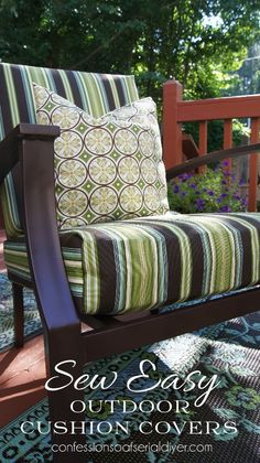 Where was this when we re-did our patio cushions? Same fabric, too! Sew Easy Outdoor Cushion Cover Tutorial/Confessions of a Serial Do-it-Yourselfer Decor, Diy Outdoor, Cushions, Diy Furniture, Home, Outside Furniture, Outdoor Cushion Covers, Outdoor Cushions, Upholstery