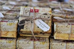 Favor boxes for a vintage destination wedding in Santorini, Design by Atelier invitations
