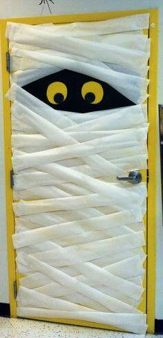 Halloween kids Party ~ Cute Mummy for inside the Bathroom door! ....Also Great idea for Teachers ~ Classroom Decorated Door.