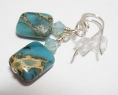 Teal Blue Aqua Terra Jasper Earrings Chrysophase by MagnoliaStudio, $12.00
