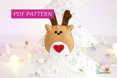 Reindeer PDF pattern Christmas ornament do it yourself felt