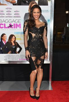 PAULA PATTON On the opposite end of the style spectrum, the Baggage Claim star chooses a sheer Rhea Costa dress with some very strategically. Paula Patton, Stunningly Beautiful, Beautiful Black Women, Black Actresses, Brown Eyed Girls, Lovely Legs, Nice Legs, Sexy Outfits, Dress To Impress