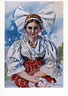 Pohlednice dívka v kroji Bohemian Costume, Traditional Clothes, Folk Costume, Ancestry, Folklore, Austria, Clip Art, Pottery, Retro