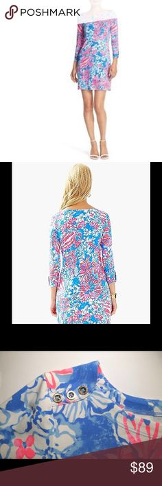 LILY PULITZER SOFIE DRESS UPS 50+ LIly Pulitzer Sophie Dress. 3/4 length sleeves. Button detail. Hot pink, baby blue, and darker blue. Dress is SPF 50+. Great for spring and summer, or resort. NWT. Lily Pulitzer Dresses