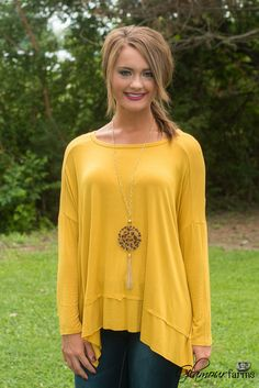 The Natalie Hi-Lo Top - Mustard