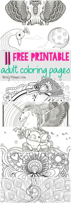 I love these free printable adult coloring pages. a page for every level of coloring skill. 11 free pages Coloring Pages For Grown Ups, Printable Adult Coloring Pages, Coloring Book Pages, Coloring For Kids, Coloring Sheets, Coloring Stuff, Free Printables, Illustration, Doodles