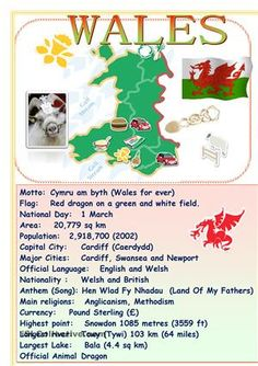 Use this informative poster to tell about Wales - ESL worksheets