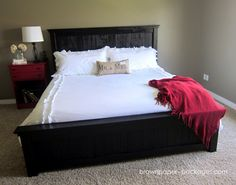 Astonishing Cal King Bed Frame Design With The Best Choice Black Wooden Platform Has A High Headboard Cap Features And White Foam Mattress Bedding Decorations As Well As King Mattress Size And King Bed Furniture, Delightful California King Bed Frames Of Variety Design Picture: Bedroom, Furniture, Interior