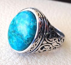 man ring chryscolla natural stone sterling silver 925 oval