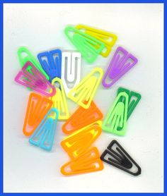 PAPER CLIPS Fasteners 200 Plastic Rainbow by TheMaineCoonCat, $1.95