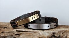 FREE SHIPPING - Personalized Couple Bracelet, Leather Men Bracelet, Men's and Women's Leather Bracelet, Brown Leather Couple Bracelet