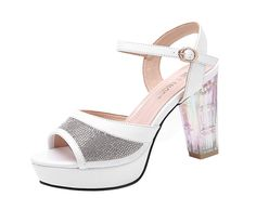 T and Grade Women Fashion Elegant Peep Toe Slip On Rhinestone Decorated Ankle Strap Platform Chunky High Heel Sandals * Hurry! Check out this great product : Hiking sandals