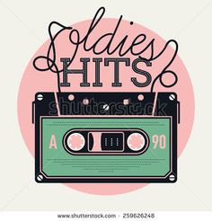Cool vector creative and detailed concept illustration on retro music and oldies hits with analogue audio cassette tape and lettering - stock vector