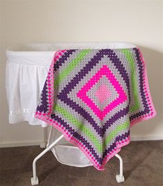 Crochet Baby Blanket Grey, Pink, Hot Pink, Green and Purple
