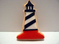 Red And Black Lighthouse Red And Black Lighthouse sugar cookie with RBC and fondant accents No Bake Sugar Cookies, Sweet Cookies, Cut Out Cookies, Fun Cookies, Cake Cookies, Cupcake Cakes, Decorated Cookies, Cupcakes, Cookie Icing