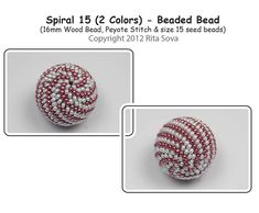 Spiral 15 (2 colors) Beaded Bead, Sova Enterprises