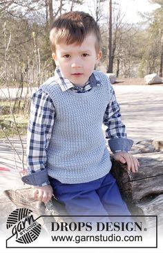Vest is Best! / DROPS Children - Free knitting patterns by DROPS Design for kids boys drops design Vest is Best! / DROPS Children - Free knitting patterns by DROPS Design Crochet For Boys, Knitting For Kids, Easy Knitting, Drops Design, Baby Knitting Patterns, Crochet Vest Pattern, Free Pattern, Crochet Patterns, Barn