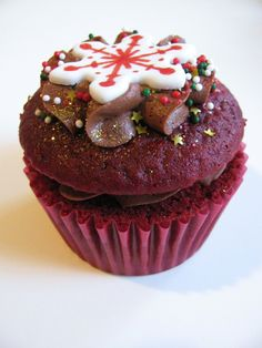 Naughty and Nice Red Velvet Christmas Cupcake