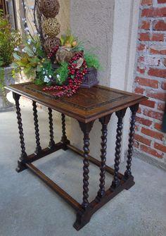 Tall Antique French Dark Oak Barley Twist Plant Display