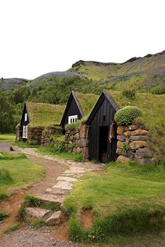 Turf houses in #Iceland. Come visit one or maybe even live in one ;)