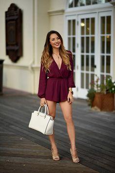 Shop this look on Lookastic: https://lookastic.com/women/looks/burgundy-playsuit-tan-heeled-sandals-white-tote-bag/14679   — Burgundy Playsuit  — Gold Bracelet  — White Leather Tote Bag  — Tan Leather Heeled Sandals