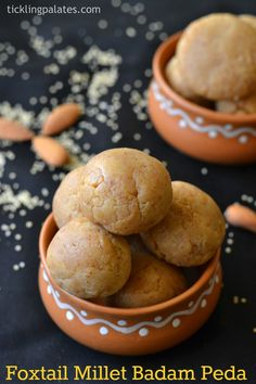 Thinai Badam Peda Recipe or Low fat, healthy and gluten free Foxtail Millet and Almond Ladoo made instantly under 5 mins using Microwave