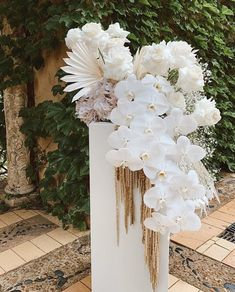 We love all the different flowers/foliage in this - orchids, roses, baby's breath and palms Wedding Ceremony Flowers, Floral Wedding, Wedding Bouquets, Boho Wedding, Orchid Wedding Theme, Dried Flower Arrangements, Dried Flowers, Metal Flowers, Wedding Centerpieces