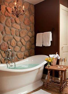 Home Improvement Ideas – Double slipper soaking tub, rock wall, chandelier. Romantic Bathrooms, Beautiful Bathrooms, Luxurious Bathrooms, Home Decor Inspiration, Decor Ideas, Bathroom Interior Design, Apartment Design, Interiores Design, Home Projects