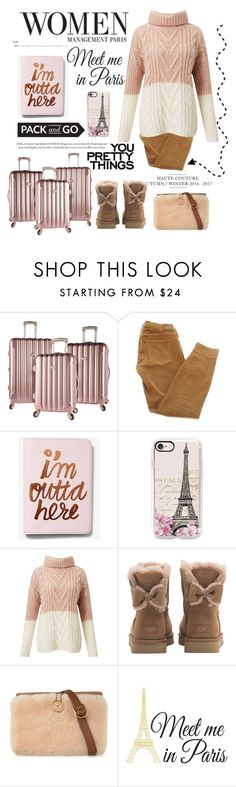 """Pack & Go to  Paris"" by conch-lady ❤ liked on Polyvore featuring Current/Elliott, Express, Casetify, Miss Selfridge, UGG, Wall Pops!, paris and Packandgo"