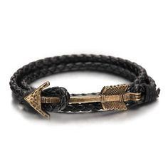 Bracelet En Cuir Tressé En forme De Flèche