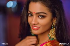 With mesmerising eyes and bold lips, Gayathrie is owning it all Blue Silk Saree, Actors Images, Bold Lips, Beautiful Girl Photo, Girls Makeup, Indian Beauty Saree, Beautiful Saree, Bridal Makeup, Girl Photos