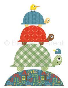 kids Nursery decor-colorful turtles for boys