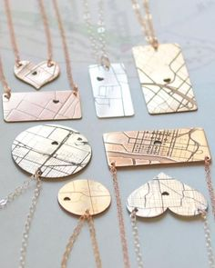 Map Necklace in rose gold, silver and gold by Olive Yew. Keep that one special place close to your heart with our custom map necklace. Now in heart shape along with circle, horizontal bar or vertical bar.