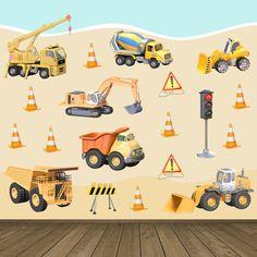 Adesivi per bambini: Kit camion costruzione. Adesivi murali bambini a kit maquinaria lavoro. #adesivimurali #decorazione #modelli #mosaico #lavoro #scavatrice #camion #costruzione #StickersMurali